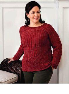 Красный пуловер с круглой кокеткой - Жакеты,полуверы, свитера