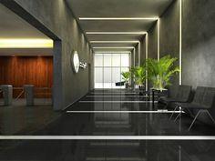 escritrio empresarial estilo industrial divisrias em vidro sala de espera