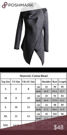 JUST IN! Gray HighNeck Waterfall Wrap w/Black Trim JUST IN!! Gray High Neck Waterfall Wrap w/Black Trim. Additional pics to come! Cotton Blend, hip length, asymmetrical jacket. Can be worn multiple ways. Also available in Wine/Burgundy, Black, Camel, Army Green. **Please see size chart for measurements as these tend to run smaller than typical US sizes. There may be a 2 to 3% difference according to manual measurement. ** Please don't hesitate to ask if you have any questions!! Jackets…