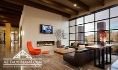 Lobo Village has 4 bedroom apartments on the University of New Mexico's South Campus in Albuquerque, NM. Find your housing today! Faux Wooden Beams, Faux Beams, Wood Beams, Student Lounge, 4 Bedroom Apartments, Real Wood, Modern Interior, Indoor, Furniture