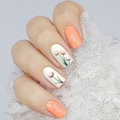 Flower Nail Designs for Spring and Summer 2019 - Nageldesign 2018 Flower Nail Designs, Nail Designs Spring, Gel Nail Designs, Nails Design, Spring Design, Nails With Flower Design, Floral Design, Tulip Nails, Flower Nails