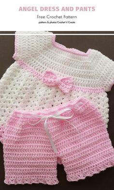 Oh, can you even imagine a more adorable set of tiny crochet clothes for little angels? The bows give it a stylish retro vibe and the combination of creamy white and powder pink is a timeless classic i Crochet Baby Dress Free Pattern, Baby Dress Patterns, Baby Clothes Patterns, Baby Girl Crochet, Crochet Baby Clothes, Cute Baby Clothes, Clothing Patterns, Free Crochet, Crochet Baby Outfits