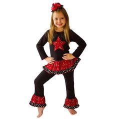 AnnLoren Girls Red Bandana Country Western Star Outfit