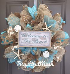 Welcome to the Beach Burlap/Deco Mesh Wreath with by BeautifulMesh