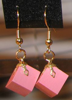 Montessori Inspired Pink Cube Earrings~ 1cm~ silver or gold plated