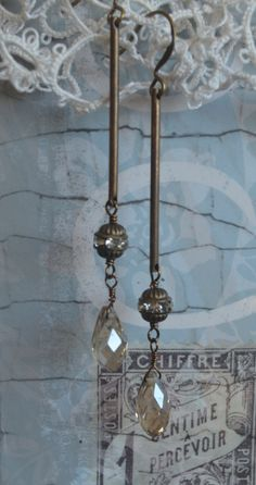 Vintage style crystal and antiqued brass drop earrings by Purrrls on Etsy