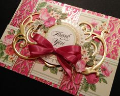 Fancy Hot Pink Floral Thank You Card with by PinkPetalPapercrafts