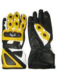 Men's Leather Biker Yellow & Black Racing Gloves