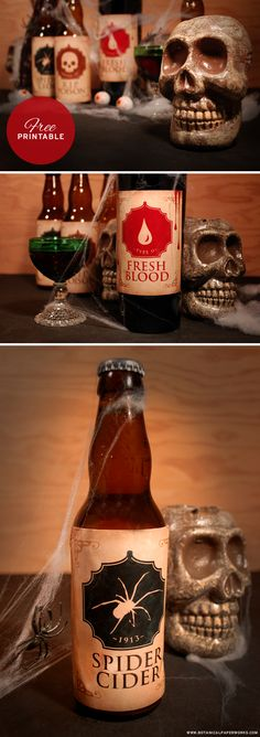 Check out these fun and spooky #FreePrintable #Halloween #BottleLabels. They'll be a great treat at your Halloween celebrations!  Great for wine bottles, beer bottles and pop bottles!