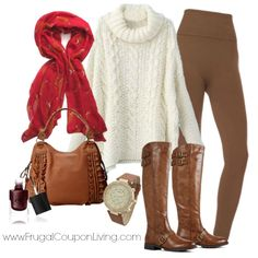 Frugal Coupon Living's Frugal Fashion Friday Fall Oversized Sweater Outfit. Ivory Sweater, Cranberry Scarf, Brown Leggings, Leather Boots. Polyvore concept.