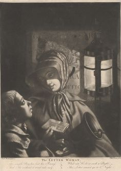 Print made by Philip Dawe, ca.1745-ca.1809, British, The Letter Woman, ca. 1769, Mezzotint and etching on moderately thick, slightly textured, cream wove paper, Yale Center for British Art, Paul Mellon Collection