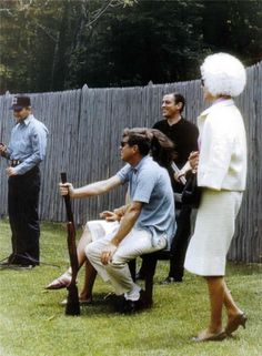 Ben Bradlee skeet shooting with the president on Camp David...Bradlee, Retired Editor In Chief of the Washington Post Newspaper, Is Still Alive & Active, Living In Washington With His Wife, Newspaper, TV and Internet Blogger, Sally Quinn...