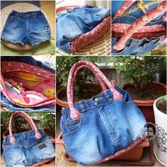 Easy Handbag Upcycled from Old Jeans #diy #refashion #oldjeans