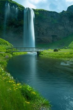 Waterfall Bridge, Seljalandsfoss Falls, Iceland photo via taylor// Never seen this before but for years, when I close my eyes, this is where I picture myself sitting with Jesus, add flowers, Weeping Willow and Lilac trees! Love this