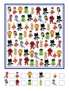 Free Superhero I Spy Printable Super Hero Activities, Printable Activities For Kids, Preschool Worksheets, Preschool Learning, Classroom Activities, Preschool Activities, Spy Games For Kids, I Spy Games, Math For Kids