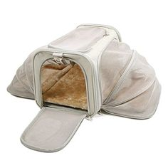 Jet Sitter Luxury Pet Carrier V2  Airline Approved Improved Durable Mesh Netting Soft Sided for Dogs or Cats Expandable on Both Sides 18x11x11 Khaki * Learn more by visiting the image link.(This is an Amazon affiliate link and I receive a commission for the sales)