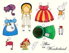 Alice In Wonderland Paper Dress Up Doll Reproduction by DanitaArt