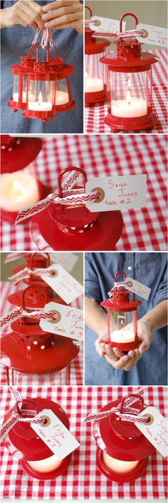 DIY: Mini Lantern Escort Cards and Favors - Project Wedding. Indicates where guests sit a reception and serves a wedding favor. Would like if they weren't red Festa Party, Diy Party, Party Gifts, Party Ideas, Party Favors, Diy Ideas, Large Lanterns, Lanterns Decor, Bash