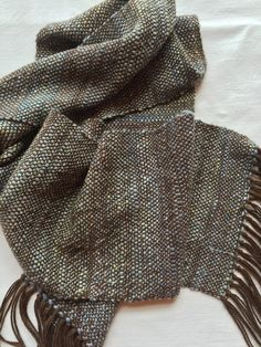 84adc15965f Handspun Handwoven Handmade Merino Wool and Silk Scarf in Brown with Baby  Blue. Men s Scarves