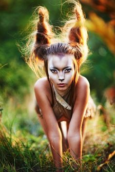 Gazelle costuming with hair horns and epic makeup by caitlin