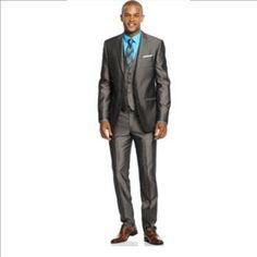 Andrew Fezza 3 PC. Suit, Birdseye Vested Slim Fit - Size: 44S - 38W/31L - Retail: $350. | Property Room