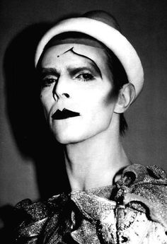 David Bowie for Ashes to Ashes promo video,1980. Makeup by Richard Sharah. Photo by?