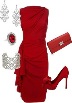 LOLO Moda: Elegant ladies dresses Wow!! #red #dress #holiday #party #new years #pumps  Love this outfit!