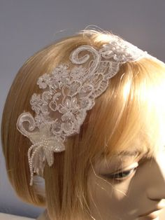 White Beaded Bridal Hairband Headpiece Wedding Veil Alternative. $55.00, via Etsy.