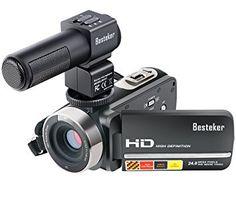 Caméscope FHD,Besteker 16X Zoom Caméra Vidéo Numérique DV(Max 24,0 Mégapixels, Détection des Visages, Vision Nocturne Infrarouge, Télécommande) avec 3,0 Rotation de TFT LCD Ecran Tactile et Microphone Externe