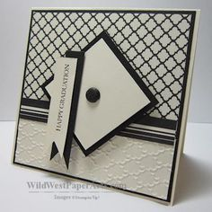 """handmade graduation card ... black and white ... modern look .... main element suggests a graduation cap .... sentiment on fishtail banner """"tassel""""  ... Stampin' Up!"""