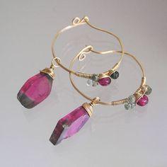 Deep Pink Tourmaline 14k Gold Filled Hoops Lightweight