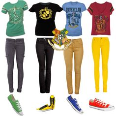 Casual Hogwarts Houses - Polyvore I would totally wear my house's outfit (I'm in Slytherin)!