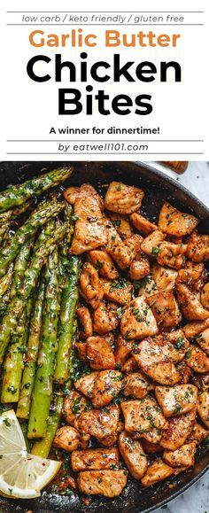 Garlic Butter Chicken Bites and Lemon Asparagus - - So much flavor and so easy to throw together, this chicken and asparagus recipe is a winner for dinnertime! - by asparagus recipe Garlic Butter Chicken Bites with Lemon Asparagus Health Dinner, Keto Dinner, Dinner Healthy, Dinner For Party, Ideas For Dinner Tonight, Yummy Dinner Ideas, Dinner Meal, Fish Dinner, Dinner Entrees
