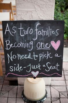 Ceremony seating sign - 'no need to pick a side - just a seat'. Photo by http://miamorefoto.com