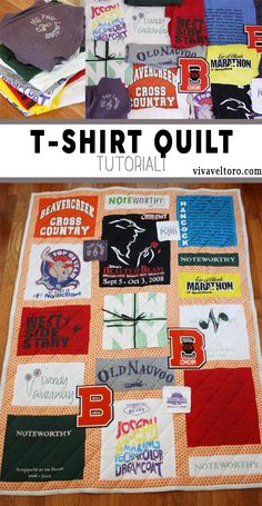A tutorial on how to make a t-shirt quilt from your old t-shirts and other clothing.