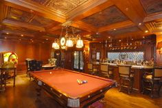 sunset mansions - what a great billiard room.  check out that ceiling.