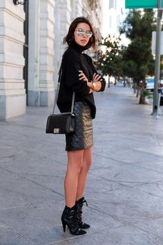 VIVALUXURY - FASHION BLOG BY ANNABELLE FLEUR: BACK TO BLACK + ISABEL MARANT ROYSTON BOOTS Banana Republic faux leather skirt & turtleneck sweater { similar option here & here } | Isabel Marant Royston leather ankle boots | Chanel Boy flap bag | Silver aviator sunglasses - old { similar here } | Movado Bold crystal accent watch | Wanderlust & Co numeral silver ring, arrow crystal silver ring & double bar & chain silver rings September 28, 2014
