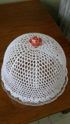 Crocheted cake dome made by me for myself