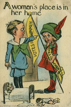 I am using this anti-suffrage poster as one of the expectations of Victorian Woman. This poster shows a women trying to fight for suffrage. But also in the poster a guy yells at her an expectation of women during the time