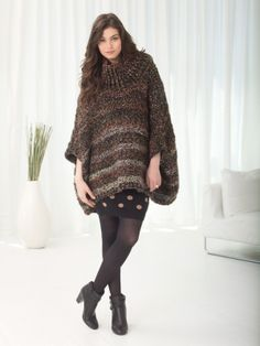 Campfire Poncho...free pattern from Lion Brand
