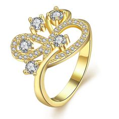 Romantic 24K Gold Plated Geometric White Cubic Zirconia Ring for Women GPR1218