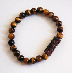 Men's Bracelets - Men's Jewelry - Men's Tiger Eye and Curved Wood Bead Bracelets- Beaded bracelet- Unisex bracelets- - #men'sjewelry