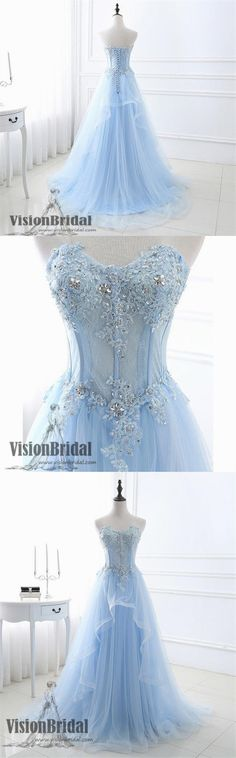 Sweetheart A-Line Sky Blue Lace Beading Prom Dress, Sleeveless Lace UP Floor Length Prom Dress, Prom Dresses, VB0110 #promdress