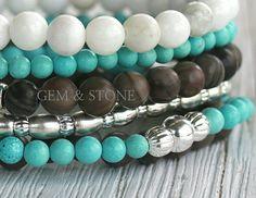 Boho Stacking Bracelet, Beaded Boho Bracelet, Stacking Bracelets, Turquoise, wood beads, Bohemian, hippy style jewelry