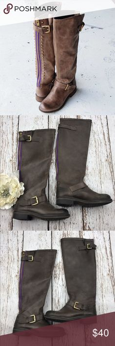 💕SALE💕Steve Madden Lindley Boots 💕Steve Madden Lindley Boots with Purple Zipper and Golden Buckles Super Cute with Shorts or Skirt for summer Steve Madden Shoes Winter & Rain Boots