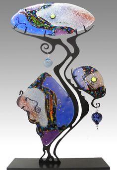 Gypsy Tree by Karen Ehart - Opal (Art Glass Sculpture) Broken Glass Art, Sea Glass Art, Glass Wall Art, Shattered Glass, Stained Glass Church, Stained Glass Art, Fused Glass, Glass Art Design, Welding Art