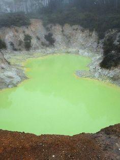 """Wai-O-Tapu, cuja tradução na língua maori, significa águas sagradas, é o maior e """"mais completo"""" parque geotermal da Nova Zelândia. Fica a cerca de 30 km (20-25 min de carro) do centro de Rotorua.  Crateras colapsadas, piscinas borbulhantes de lama vulcânica, fumarolas, hotsprings coloridos e até um geyser são as """"atrações"""" do parque. ]  Este da foto é o Lake Ngakoro. Suas águas são de um verde esmeralda difícil de descrever."""