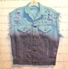 Vintage LEVIS Ombre Hand  Dyed Denim Vest by GypsysTreasureCove, $60.00
