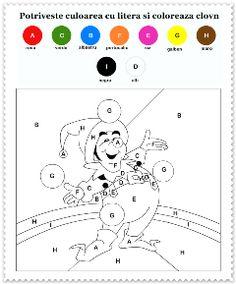 Coloreaza dupa litere Clovn #activitaticopii #plansedecolorat