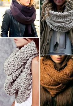 Cozy snood and scarf for fall and winter fashion Adoro las bufandas! Chunky Scarves, Oversized Scarf, Knit Scarves, Chunky Knits, Wool Scarf, Chunky Wool, Chunky Crochet, Blanket Scarf, Look Fashion